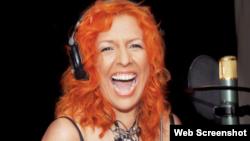 Albita Rodríguez, cantautora cubana, durante una sesión de grabaciones