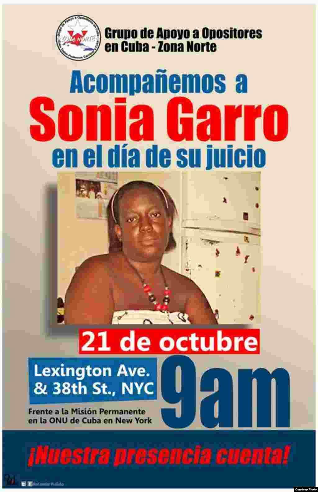 """Cartel promocional del evento """" Acompañemos a Sonia Garro en el día de su juicio"""", convocado para la mañana del 21 de octubre."""