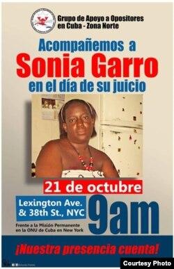 """Cartel promocional del evento """"Acompañemos a Sonia Garro en el día de su juicio"""", convocado para la mañana del 21 de octubre."""