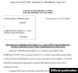 La moción presentada por los abogados de Nueva York en representación de CIMEX y CUPET propone fijar el 9 de octubre como fecha para responder la demanda de ExxonMobil.