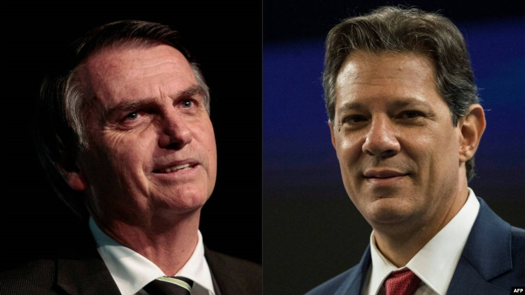 Fotomontaje muestra Jair Bolsonaro (PSL) y Fernando Haddad (PT) - AFP