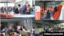 Cubanos varados en Costa Rica. Imágenes que circulan en las redes sociales.