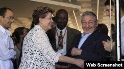 Dilma Rousseff, Raúl Castro y Marcelo Odebrecht durante inauguración del Mariel en enero de 2014.