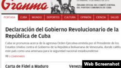 La Habana respondió con una declaración del Gobierno a las sanciones de EEUU contra funcionarios venezolanos.