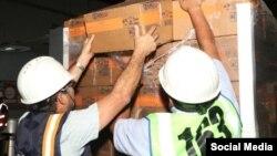 Contenedores de ayuda humanitaria para los venezolanos. Foto USAID.