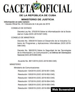 La Gaceta Oficial de Cuba anuncia el decreto-Ley No. 370 de 2019.