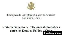 Nota de la Embajada de EEUU en Cuba sobre el establecimiento de relaciones diplomáticas.