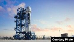 La nave Blue Origin durante las pruebas realizadas en Texas.