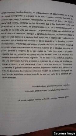 La carta enviada a Obama por los migrantes cubanos varados en Turbo. (Facebook Martí Noticias)