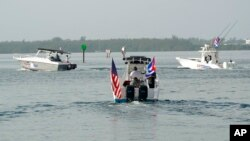 La flotilla partió rumbo a Cuba el 23 de julio de 2021. AP Photo/Wilfredo Lee