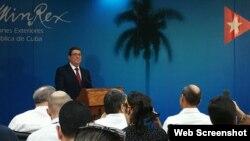 El canciller cubano Bruno Rodríguez durante una conferencia de prensa en La Habana