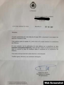 Acuse de recibo y aceptación enviado por Parlamento belga a carta entregada por los cubanos residentes en Bélgica