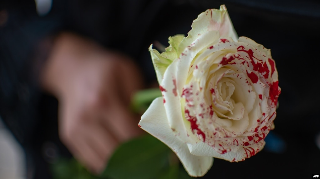 Una mujer sostiene una rosa ensangrentada en protesta contra los feminicidios.