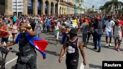 Manifestación pacífica contra el régimen comunista frente al Capitolio Nacional de Cuba el pasado 11 de julio.