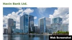 Portada del sitio en internet del Havin Bank.