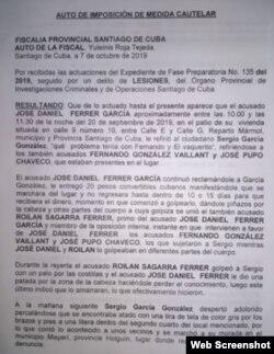 """Primera página del """"Auto de Imposición de Medida Cautelar"""" emitido por la Fiscalía contra Ferrer."""