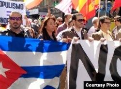 Iliana Hernández, durante una manifestación contra Podemos en Madrid. (Archivo)