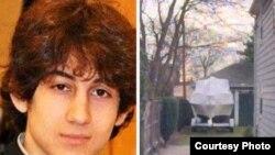 El bote en el patio de una casa de la calle Franklin, donde se escondió, presumiblemente herido Dyojar Tsarnaev