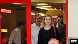La jefa de la diplomacia de la Unión Europea (UE), Federica Mogherini, a su llegada a La Habana (23 de marzo, 2015).