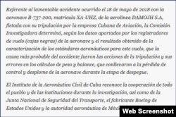 Comunicado del Instituto de Aeronáutica Civil de Cuba publicado por el sitio oficial Cubadebate.