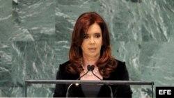 La presidenta argentina Cristina Fernández habla ante la ONU.