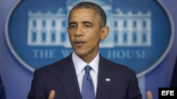 El presidente de Estados Unidos en conferencia de prensa desde la Casa Blanca, hoy, 1 de agosto de 2014.
