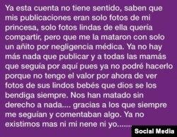 La desgarradora nota publicada el sábado por la madre de Paloma en Instagram.