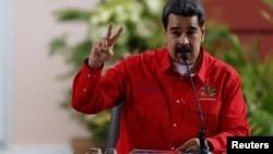 El gobernante venezolano, Nicolás Maduro, en el Foro de Sao Paulo, en Caracas.