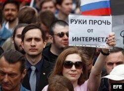 Miles de personas protestan en Moscú contra el bloqueo de Telegram