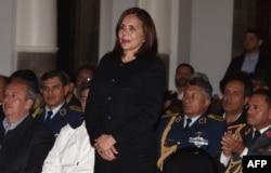 Karen Longaric Rodríguez, la canciller del gobierno interino de Bolivia, al tomar posesión el miércoles (Foto: Aizar Valdés-AFP).