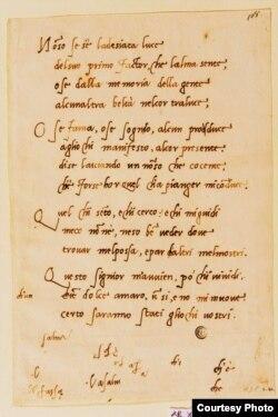 Manuscrito de un soneto de Miguel Ángel Buonarroti.