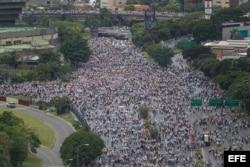 """Vista general de la multitudinaria manifestación """"Toma de Venezuela""""."""