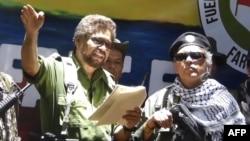 Iván Márquez y Jesús Santrich exjefes de las guerrillas FARC en Colombia.