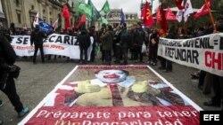 Los estudiantes protestan en Santiago de Chile