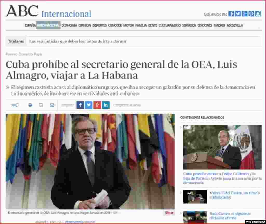 Artículo en ABC.es destaca prohibición de ingreso a Cuba al secretario general de la OEA, Luis Almagro.