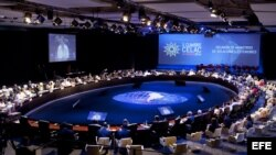 Vista general de la primera sesión de la II Cumbre de la Comunidad de Estados Latinoamericanos y Caribeños (Celac).