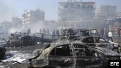 El atentado en la céntrica plaza Shahbandar, en Damasco, fue obra al parecer de un terrorista suicida.