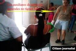 Reporta Cuba. Una mujer que trabaja en el hospital no tiene bata sanitaria. Foto: Mailín Ricardo.