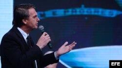 Jair Bolsonaro, del partido Partido Social Liberal (PSL), durante un debate entre candidatos a la presidencia de Brasil.