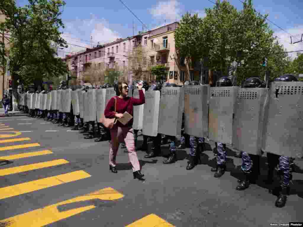 Cordón policial en Armenia.