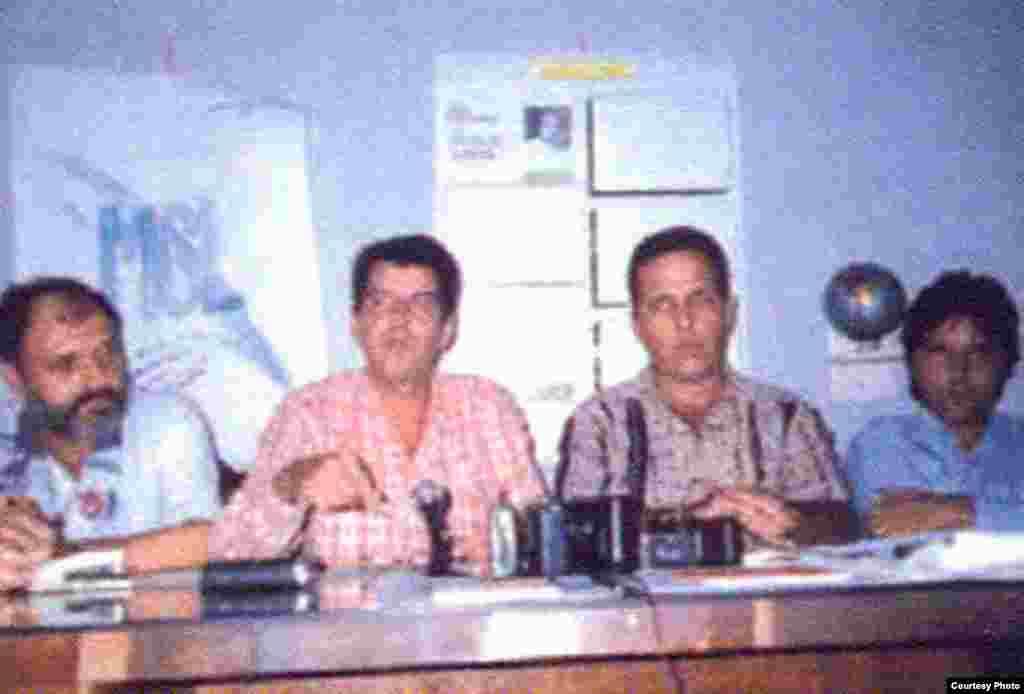Miembros del Consejo Coordinador del Movimiento Cristiano Liberación en una conferencia en el Hotel Meliá Cohiba, en La Habana, a propósito de la visita de integrantes del Partido de Acción Nacional mexicano (PAN). De izq a der: Michel Saludes, Osvaldo Payá, Tony Díaz y Regis Iglesias.