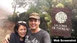 Camilo Venegas Yero y su esposa, Diana Sarlabous, en la Loma de Thoreau