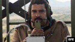 El presidente venezolano, Nicolás Maduro durante un ejercicio militar en el estado occidental Cojedes en la zona del Pao.