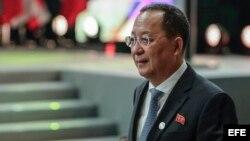 El Ministro de Relaciones Exteriores de Corea del Norte, Ri Yong-ho.