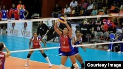 Juego de Puerto Rico contra Cuba en la ronda del Grand Prix de Voleibol