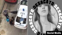 Momento de la detención de Carolina Barrero. (Imágenes tomadas de Facebook)
