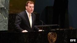 El ministro de exteriores de Canadá, John Baird, ante la Asamblea General de Naciones Unidas en Nueva York (EEUU).