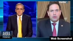 El presentador de Mega TV Oscar Haza entrevistó al senador Marco Rubio.