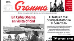"""Portada del diario """"Granma"""" el 21 de marzo."""