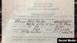 Citación de la PNR a Mónica Baró